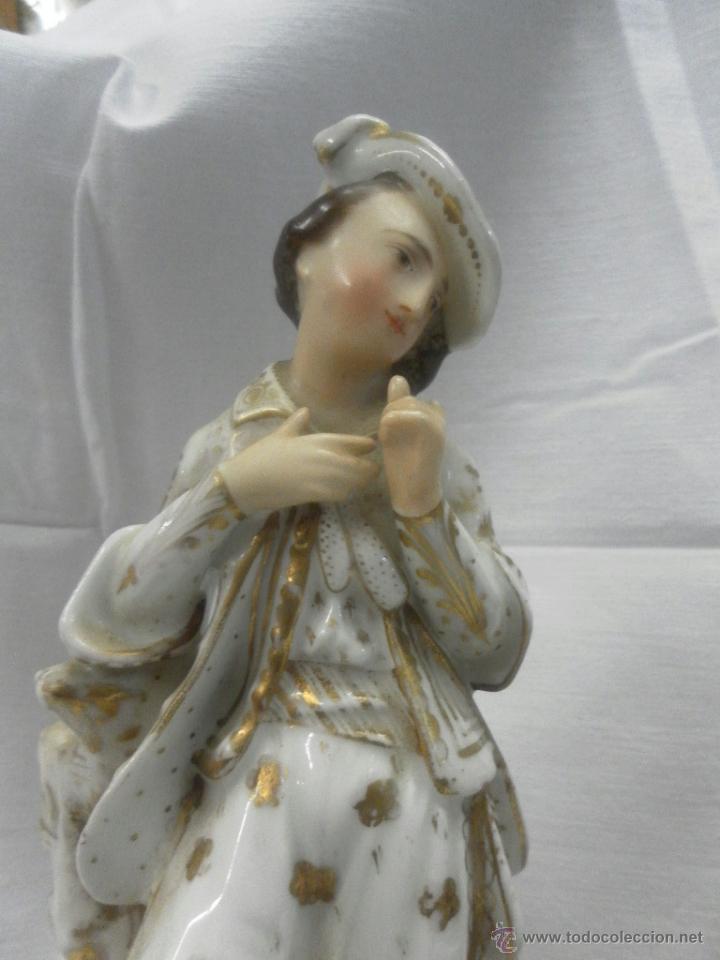 Antigüedades: Pareja figuras porcelana españolas. Época Isabelina - Foto 19 - 43848208
