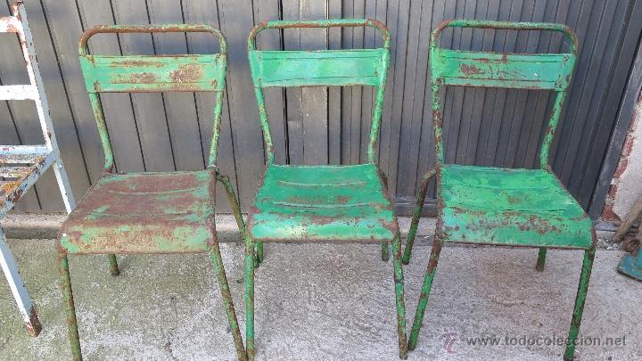 3 antiguas y bonitas sillas de hierro bonita l Comprar Sillas