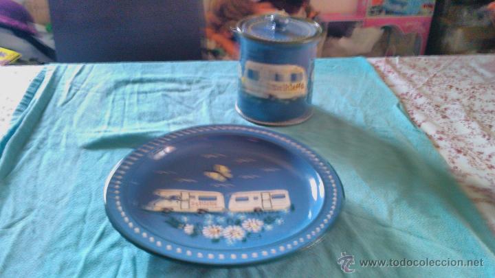 Antigüedades: Precioso conjunto de plato y tarro de cerámica pintado a mano .guttinger jsny handarbeit.color azul. - Foto 2 - 43868785