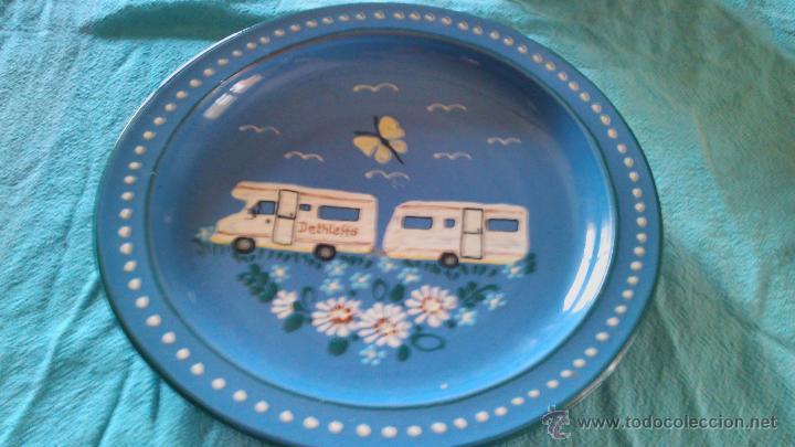 Antigüedades: Precioso conjunto de plato y tarro de cerámica pintado a mano .guttinger jsny handarbeit.color azul. - Foto 3 - 43868785