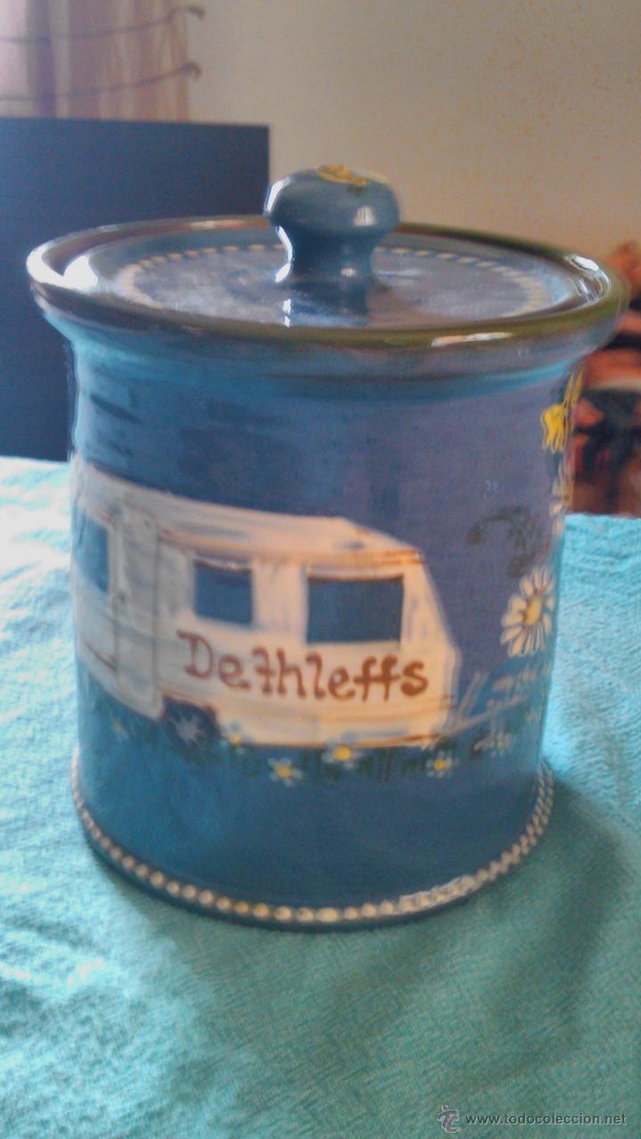 Antigüedades: Precioso conjunto de plato y tarro de cerámica pintado a mano .guttinger jsny handarbeit.color azul. - Foto 4 - 43868785