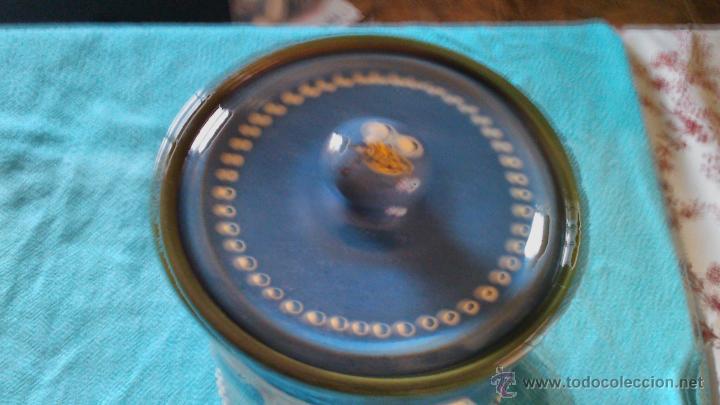 Antigüedades: Precioso conjunto de plato y tarro de cerámica pintado a mano .guttinger jsny handarbeit.color azul. - Foto 5 - 43868785