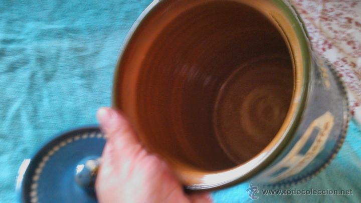 Antigüedades: Precioso conjunto de plato y tarro de cerámica pintado a mano .guttinger jsny handarbeit.color azul. - Foto 6 - 43868785
