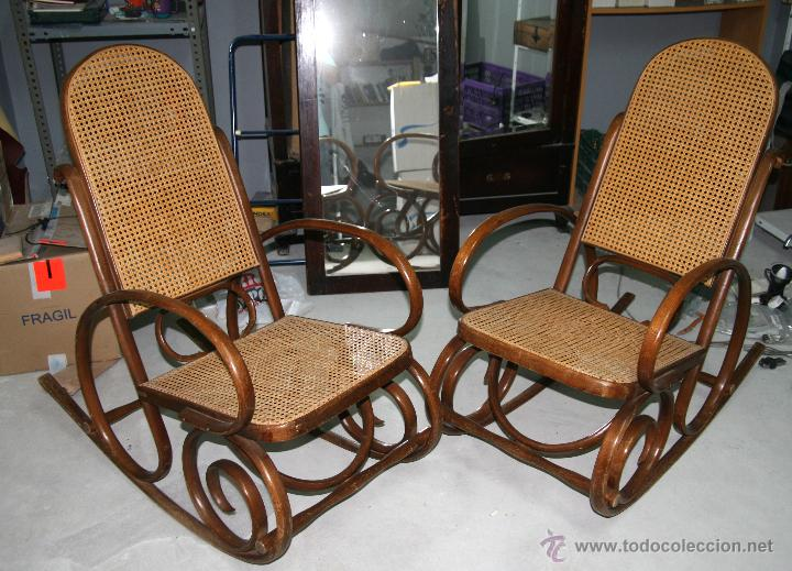 Pareja de mecedoras de madera y rejilla muy bon comprar sillones antiguos en todocoleccion - Sillones mecedoras ...