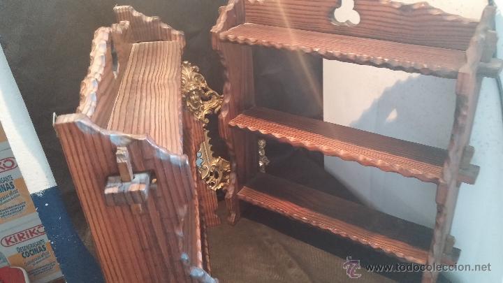 Antigüedades: Dos repisas de madera antiguas, en madera madera, bien conservadas - Foto 3 - 43921546