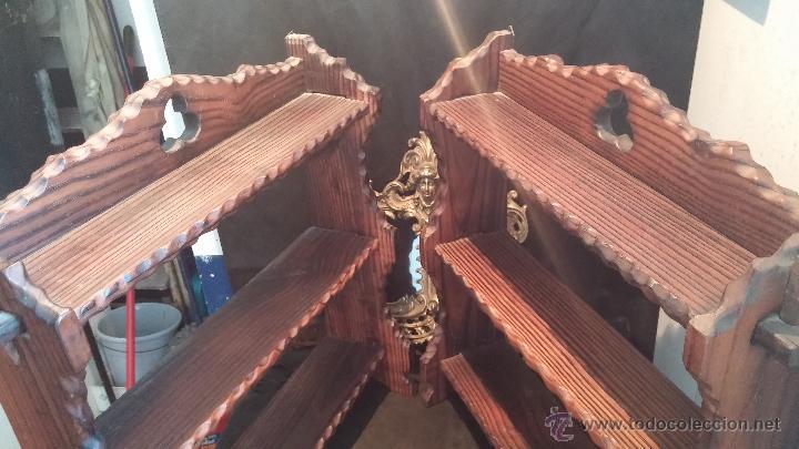 Antigüedades: Dos repisas de madera antiguas, en madera madera, bien conservadas - Foto 4 - 43921546