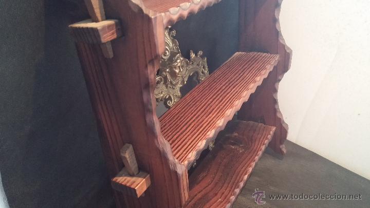 Antigüedades: Dos repisas de madera antiguas, en madera madera, bien conservadas - Foto 8 - 43921546