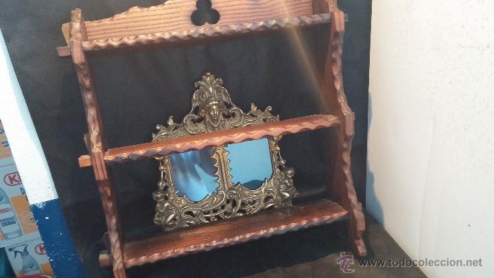 Antigüedades: Dos repisas de madera antiguas, en madera madera, bien conservadas - Foto 14 - 43921546