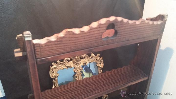 Antigüedades: Dos repisas de madera antiguas, en madera madera, bien conservadas - Foto 24 - 43921546