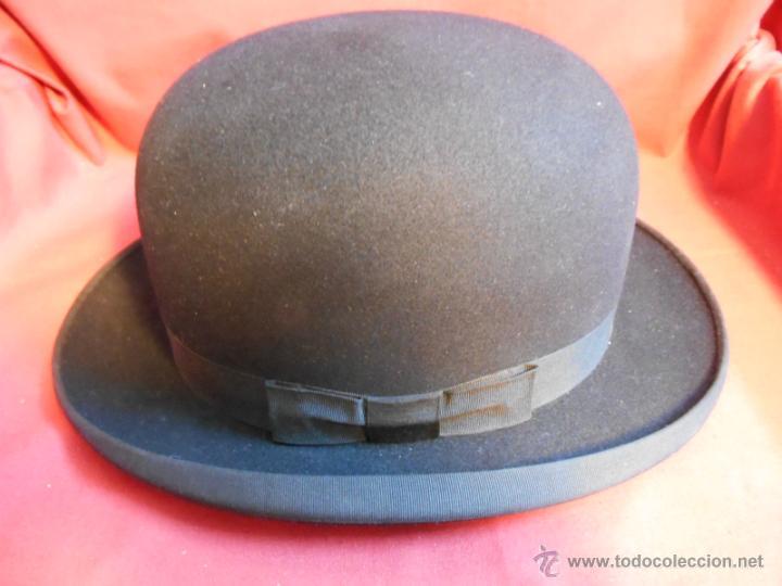 IMPECABLE ANTIGUO SOMBRERO TIPO BOMBIN NEGRO INGLES CON CAJA - PPOS SIGLO XX - (Antigüedades - Moda - Sombreros Antiguos)