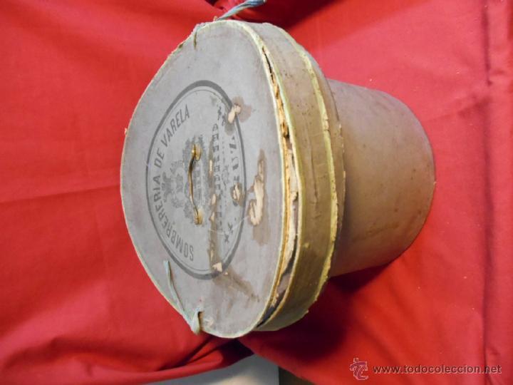 Antigüedades: IMPECABLE ANTIGUO SOMBRERO TIPO BOMBIN NEGRO INGLES CON CAJA - PPOS SIGLO XX - - Foto 8 - 43935326