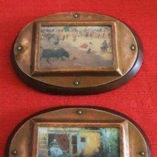 Antigüedades: 2 CUADROS OVALADOS CON MARCO DE COBRE SOBRE MADERA . Lote 43960068