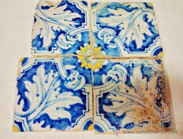 Antigüedades: Lote de 7 azulejos de Talavera, s. XVI-XVII. Esmaltados en azul, amarillo y blanco. - Foto 2 - 51114964