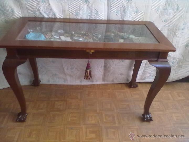 Antigüedades: MESA VITRINA EXPOSITOR MOSTRADOR CAOBA PATA GARRA - Foto 2 - 43972910