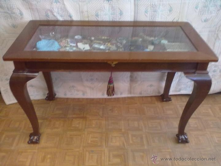 Antigüedades: MESA VITRINA EXPOSITOR MOSTRADOR CAOBA PATA GARRA - Foto 3 - 43972910