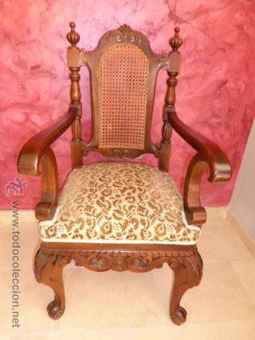 Antiguo sillon silla o butaca de madera talla comprar - Sillones de madera antiguos ...