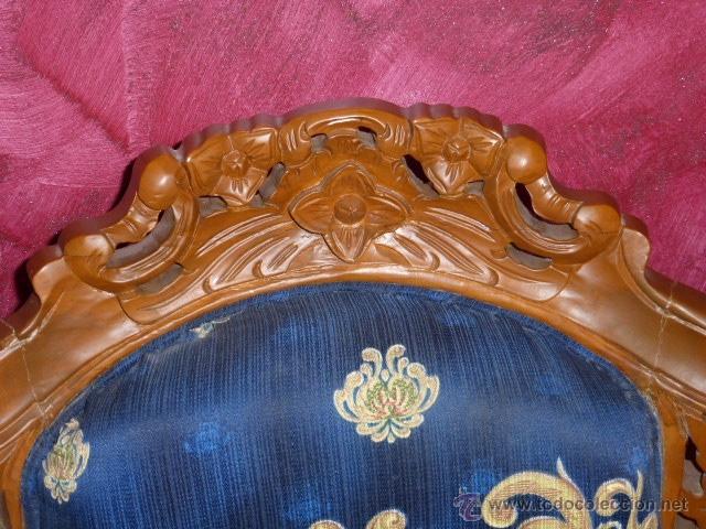 Antigüedades: SILLA, SILLON O BUTACA DE MADERA TALLADA CON TAPICERIA FLORAL EN PERFECTO ESTADO - Foto 2 - 43985633