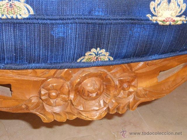 Antigüedades: SILLA, SILLON O BUTACA DE MADERA TALLADA CON TAPICERIA FLORAL EN PERFECTO ESTADO - Foto 7 - 43985633