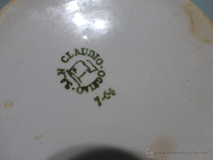 Antigüedades: ANTIGUA SALSERA ORIGINAL DE PORCELANA DE SAN CLAUDIO DECORADA CON DIBUJOS - Foto 6 - 43988589