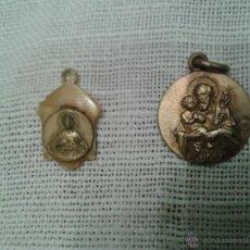 Antigüedades: LOTE DE DOS MEDALLITAS EN DIFERENTES MATERIALES. Lote 53079613