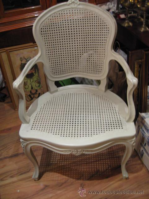 Sillon de madera luis xv con rejilla en asiento comprar for Sillones a buen precio