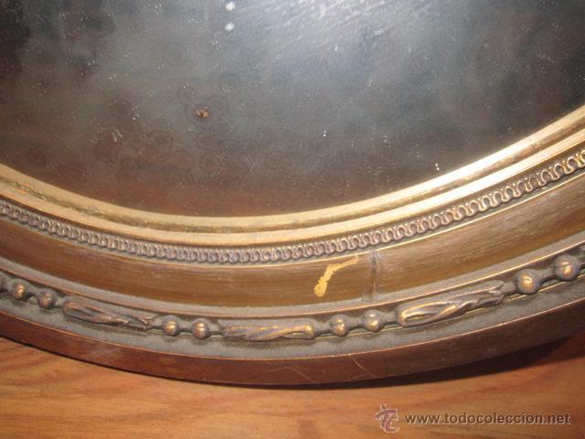 Antigüedades: Antigua pareja de espejos con marco de madera dorada, estilo isabelino. 73 x 52 cms.Interior 58X43 c - Foto 9 - 44009846