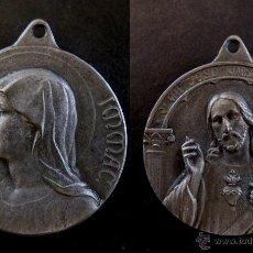 Antigüedades: MEDALLA RELIGIOSA ANTIGUA MARIA INMACULADA SAGRADO CORAZÓN S XIX. Lote 44020272