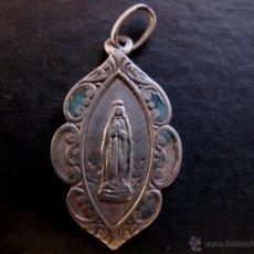 Antigüedades: MEDALLA RELIGIOSA ANTIGUA VIRGEN DE LOURDES PLATA. Lote 44020455