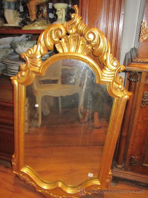 espejo antiguo, con marco de madera en pan de o - Comprar Espejos ...