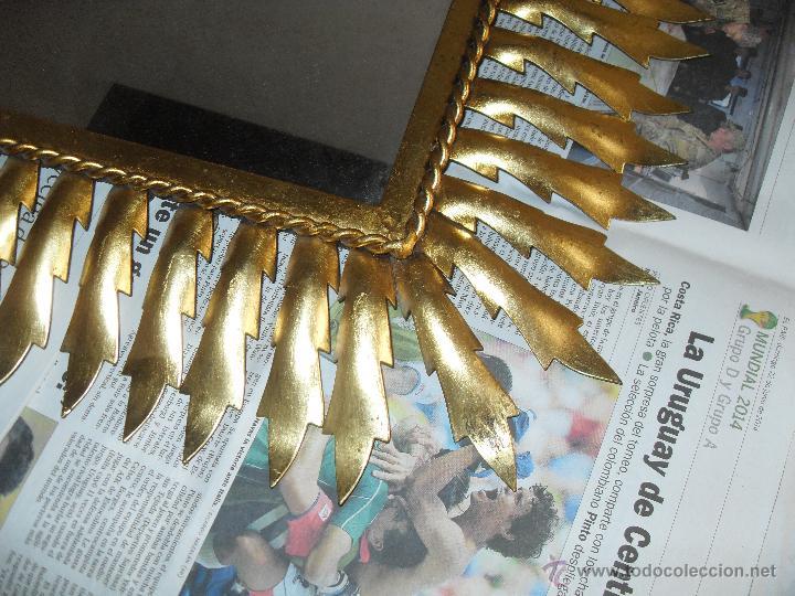 Antigüedades: Espejo metal sol rectangular. Hojas forja dorada. - Foto 2 - 47843788