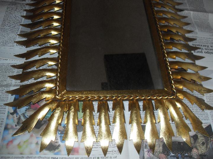 Antigüedades: Espejo metal sol rectangular. Hojas forja dorada. - Foto 4 - 47843788