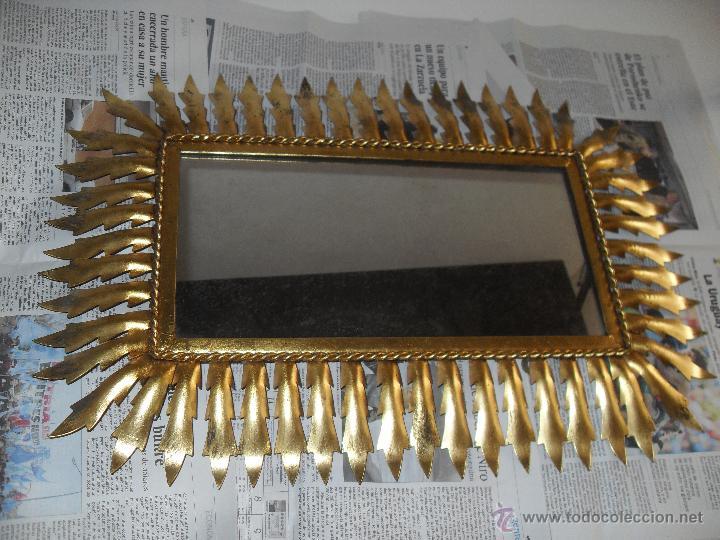 Antigüedades: Espejo metal sol rectangular. Hojas forja dorada. - Foto 5 - 47843788
