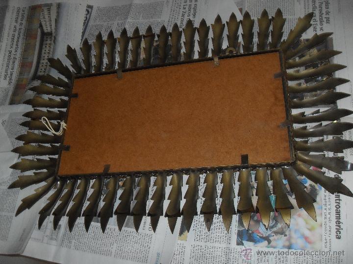 Antigüedades: Espejo metal sol rectangular. Hojas forja dorada. - Foto 7 - 47843788