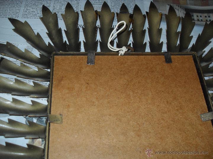 Antigüedades: Espejo metal sol rectangular. Hojas forja dorada. - Foto 10 - 47843788