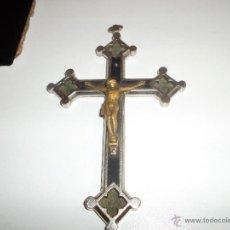 Antigüedades: CRUCIFIJO DE METAL Y MADERA DE EBANO. Lote 44041039