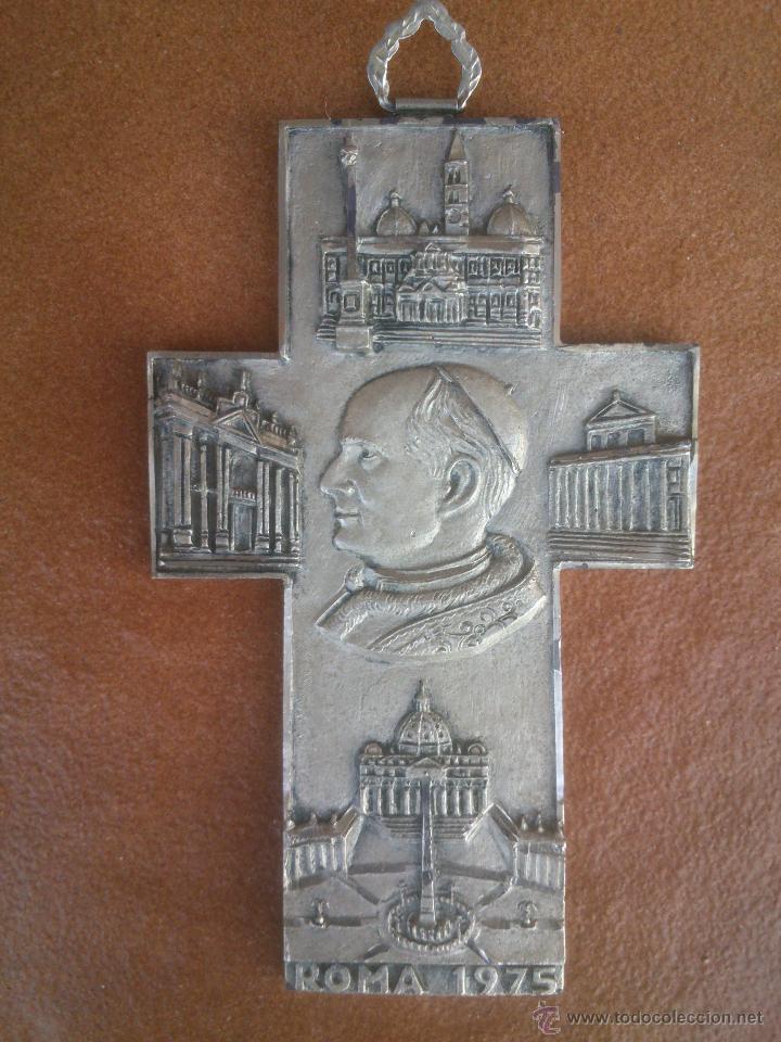 Antigüedades: CRUZ JUAN PABLO II.ROMA 1975 - Foto 2 - 44049776