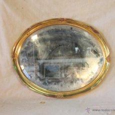 Antigüedades: ESPEJO OVAL EN MADERA Y PAN DE ORO. Lote 44059885