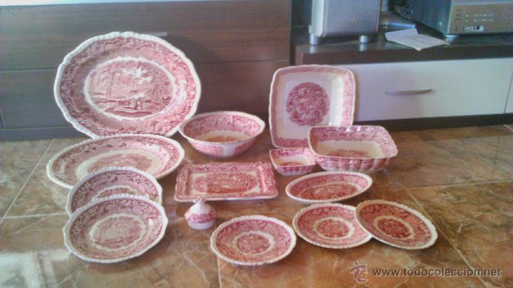 Lote de 14 piezas de vajilla antigua MASON´S PATENT IRISTONE CHINA. VISTA ENGLANDE. ROJO., usado segunda mano