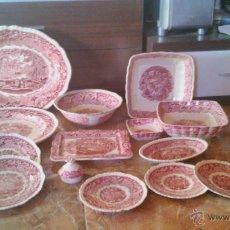 Antigüedades: LOTE DE 14 PIEZAS DE VAJILLA ANTIGUA MASON´S PATENT IRISTONE CHINA. VISTA ENGLANDE. ROJO.. Lote 44062369