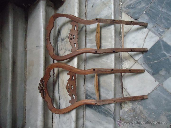 Antigüedades: antigua pareja de de sillas madera tallada para restaurar, - silla - talla 97 cm sin agugeros - Foto 2 - 44085536