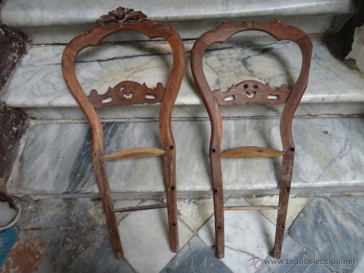 Antigüedades: antigua pareja de de sillas madera tallada para restaurar, - silla - talla 97 cm sin agugeros - Foto 6 - 44085536