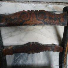 Antigüedades: ANTIGUA SILLA MADERA TALLADA PARA RESTAURAR, - SILLA - TALLA PAN DE ORO - O PINTADA MANO. Lote 44086758