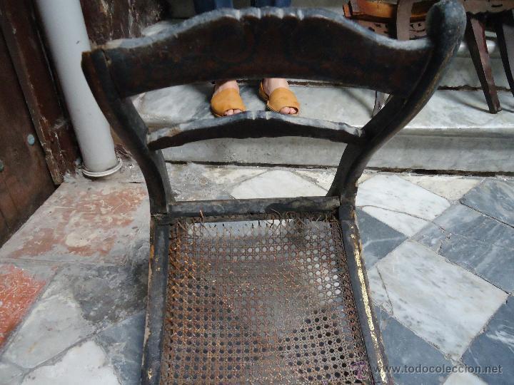 Antigüedades: antigua silla madera tallada para restaurar, - silla - talla pan de oro - o pintada mano - Foto 6 - 44086758