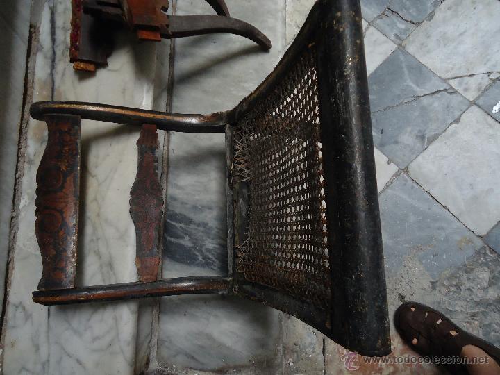 Antigüedades: antigua silla madera tallada para restaurar, - silla - talla pan de oro - o pintada mano - Foto 11 - 44086758