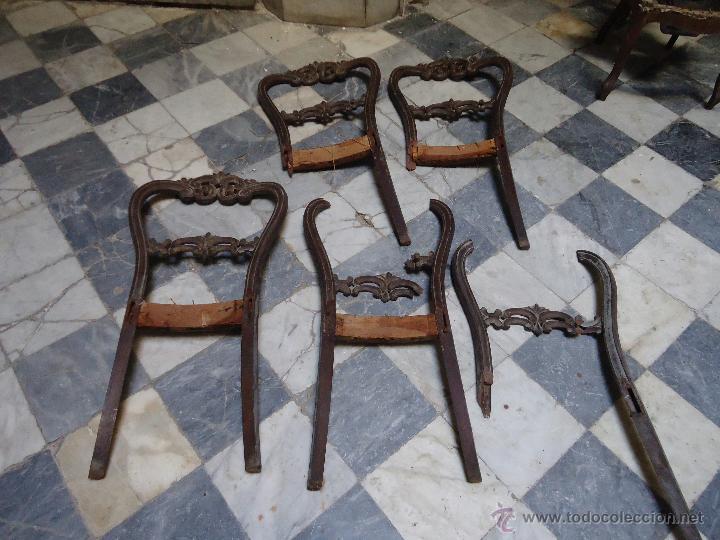 Antigüedades: lote de antiguas sillas madera tallada para restaurar, - silla - talla - caoba - Foto 11 - 44087406