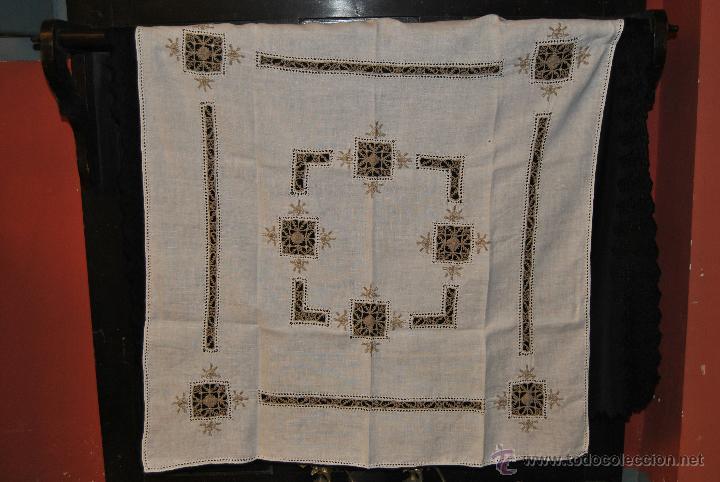 MANTEL DE TE DE HILO Y ENCAJES (Antigüedades - Hogar y Decoración - Manteles Antiguos)