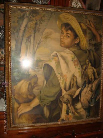 ANTIGUA Y PRECIOSA LAMINA ARTISTICA CHICO DE CACERIA, PRECIOSO MARCO Y CRISTAL, VER FOTOS69 X 58 CM (Antigüedades - Hogar y Decoración - Portafotos Antiguos)