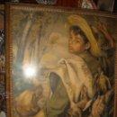 Antigüedades: ANTIGUA Y PRECIOSA LAMINA ARTISTICA CHICO DE CACERIA, PRECIOSO MARCO Y CRISTAL, VER FOTOS69 X 58 CM . Lote 24945253