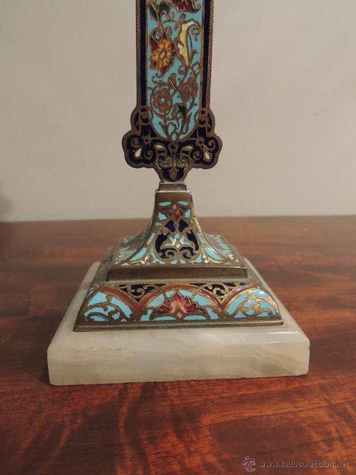 Antigüedades: CRUZ DE ESMALTE CLOISONNE SOBRE MARMOL - Foto 3 - 44144058