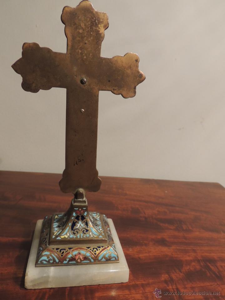 Antigüedades: CRUZ DE ESMALTE CLOISONNE SOBRE MARMOL - Foto 4 - 44144058